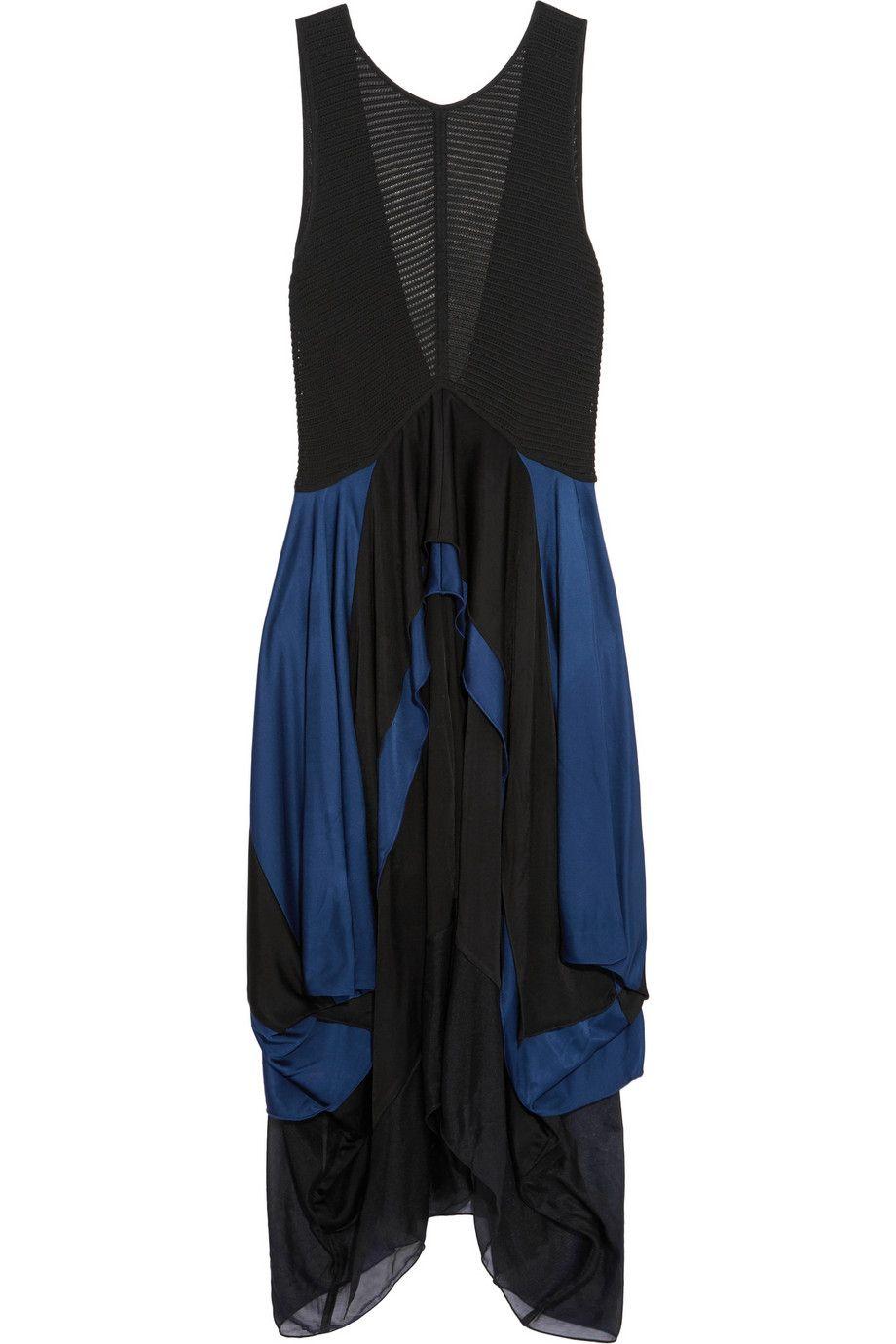 IssaZaza layered stretch-knit and satin-jersey dress