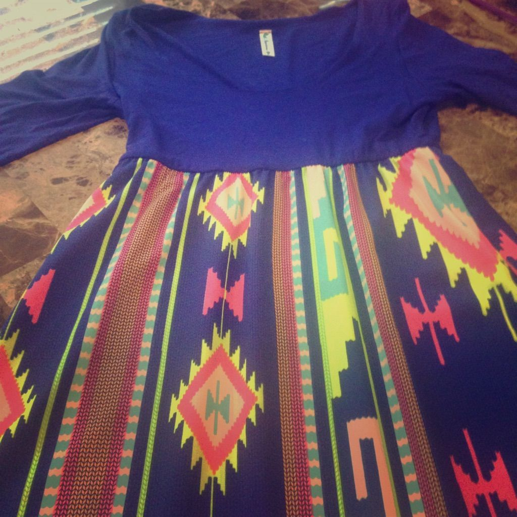 Long sleeve blue tribal print maxi dress products