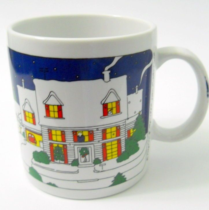 Nice Taylor U0026 Ng 1980 Joyous Noel Coffee Mug Snow Moon Christmas Decorated House