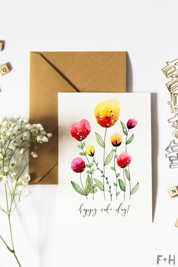 Free Printable Watercolor Birthday Cards | Fox + Hazel