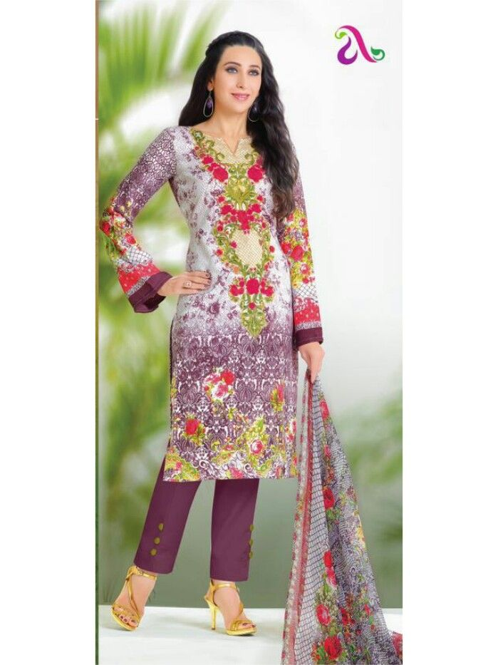 640f4a9ddd Rs. 849 Pakistani Style Pure Lawn Cotton Printed Dress Material ...