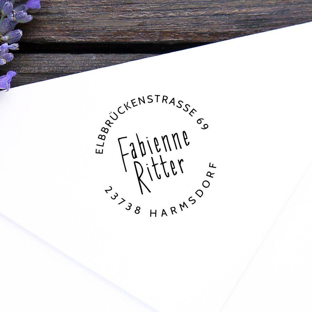 Adressstempel rund Stempel Familie Pinterest