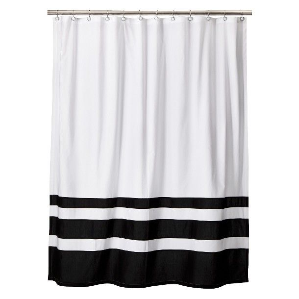 Threshold Color Block Shower Curtain Black White Black White