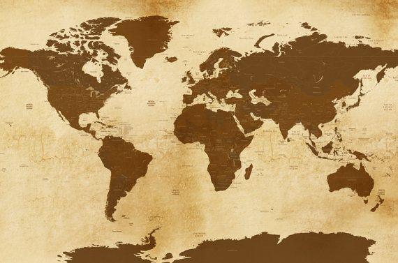 Vintage Style Worldmap Poster 24X36 Inches World by TexturedINK
