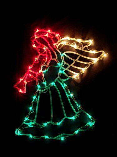 16 lighted angel with horn christmas window silhouette decoration by vco 2299 16
