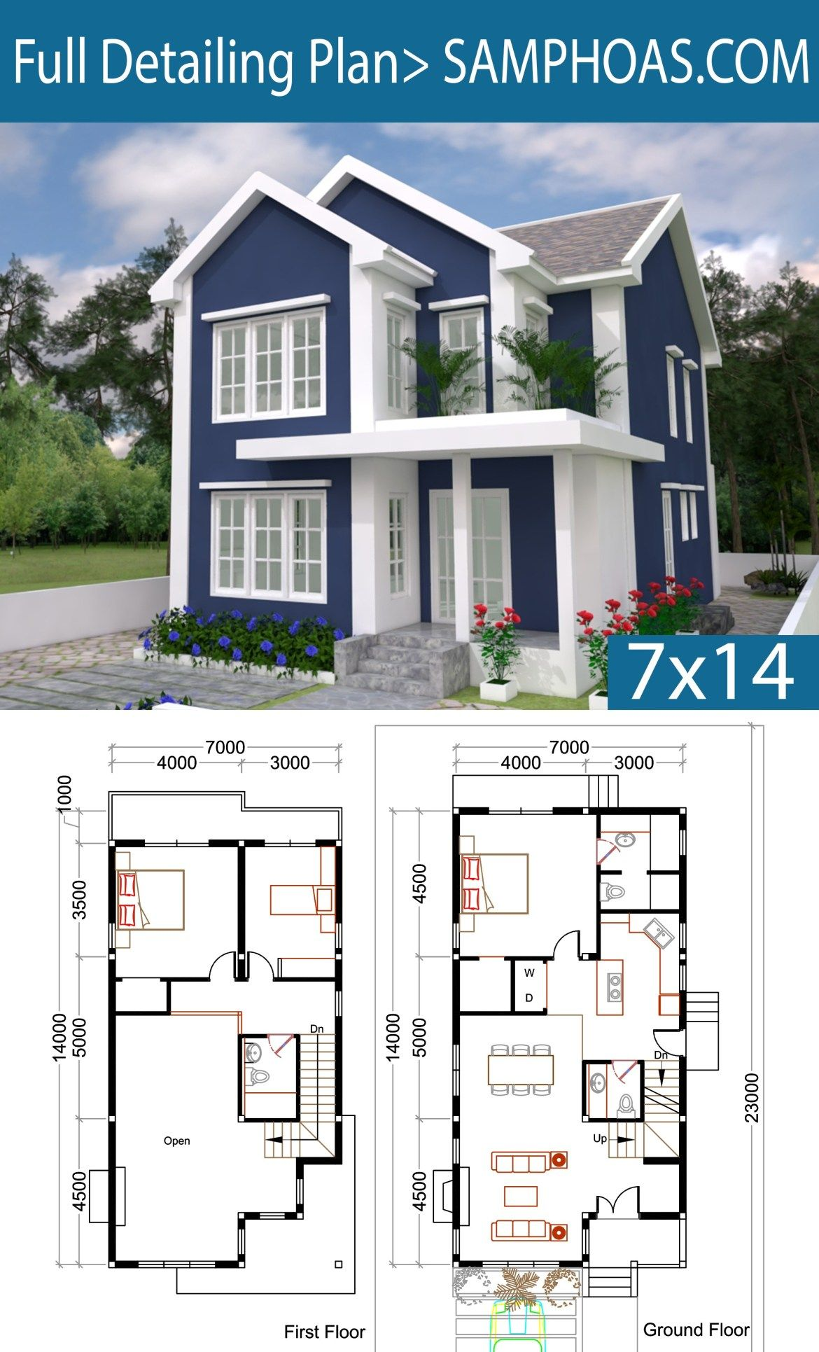 3 Bedrooms Home Plan 7x14m Hauser Haus Grundriss Haus Bauen