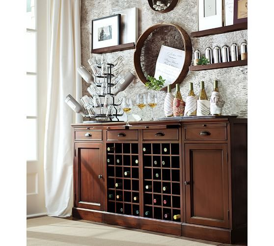 Modular Bar 72 Buffet With Double Wine Grid Dining Room