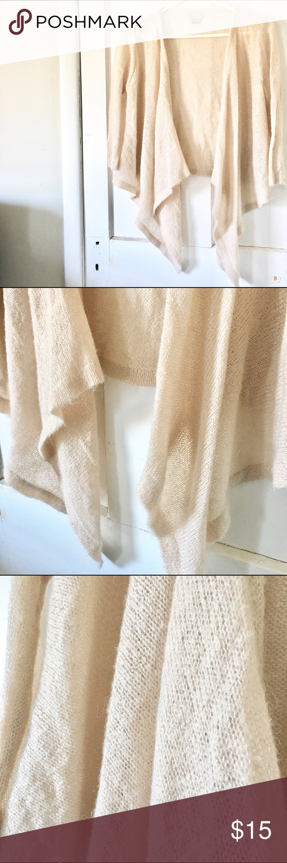 """H&M open front cardigan Beautiful for a winter wedding! Soft blush color knit with silver thread woven throughout for the perfect sparkle!! ✨shorter back and long drapes in front. Drape is 33"""" from shoulder seam to longest point. 3/4 length sleeves H&M Sweaters Cardigans"""