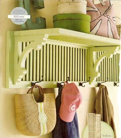 Refashion a shutter and some brackets into a one-of-a-kind shelf and coat rack for your entry.