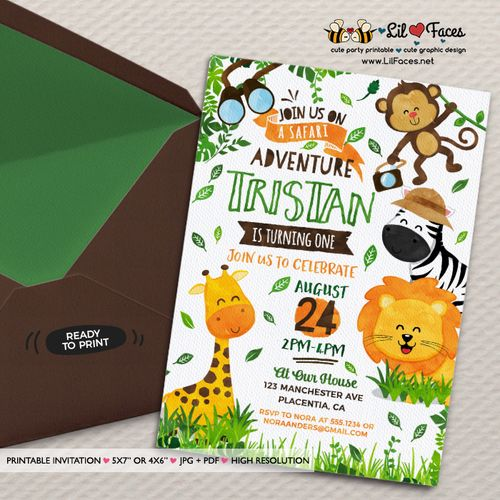 Safari birthday invitation jungle animals diy printable safari safari birthday invitation jungle animals diy printable safari invitation safari birthday party invite party animals invitation home made party stopboris Choice Image