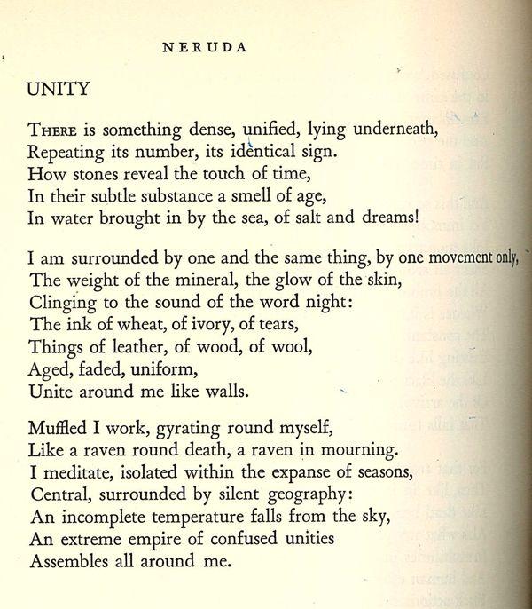 Unity by Pablo Neruda | POETRY | Pablo neruda, Poems, Poetry