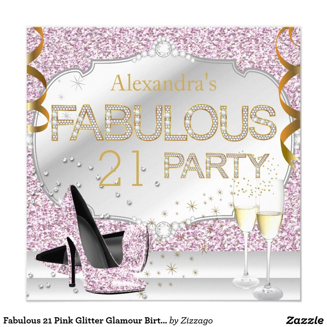 Fabulous 21 Pink Glitter Glamour Birthday Party Card Pink Glitter