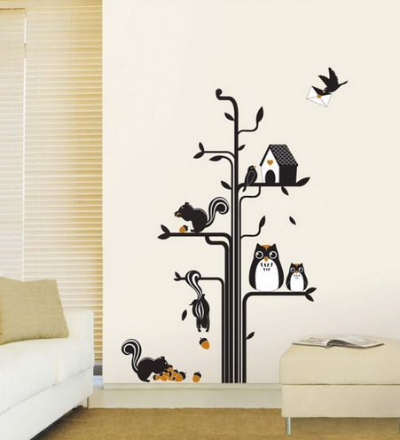 Funny Wall Decals Tree And Funny Animals Cartoon Wall Stickers In Modern Living Room Owl Bedroom Decor Wall Decor Bedroom Bedroom Wall Colors