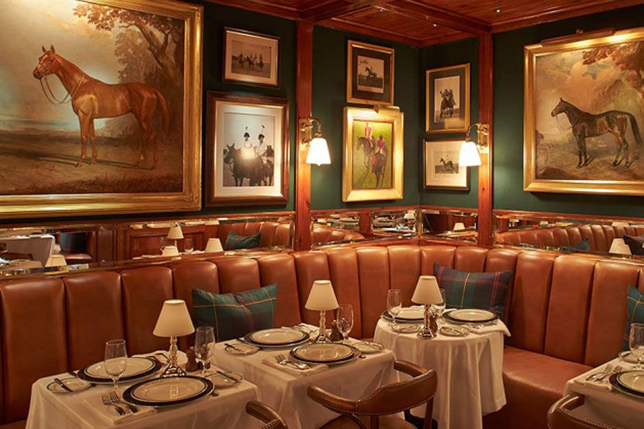Ralph Lauren Polo Bar Green Walls Brass Accents Cognac Leather
