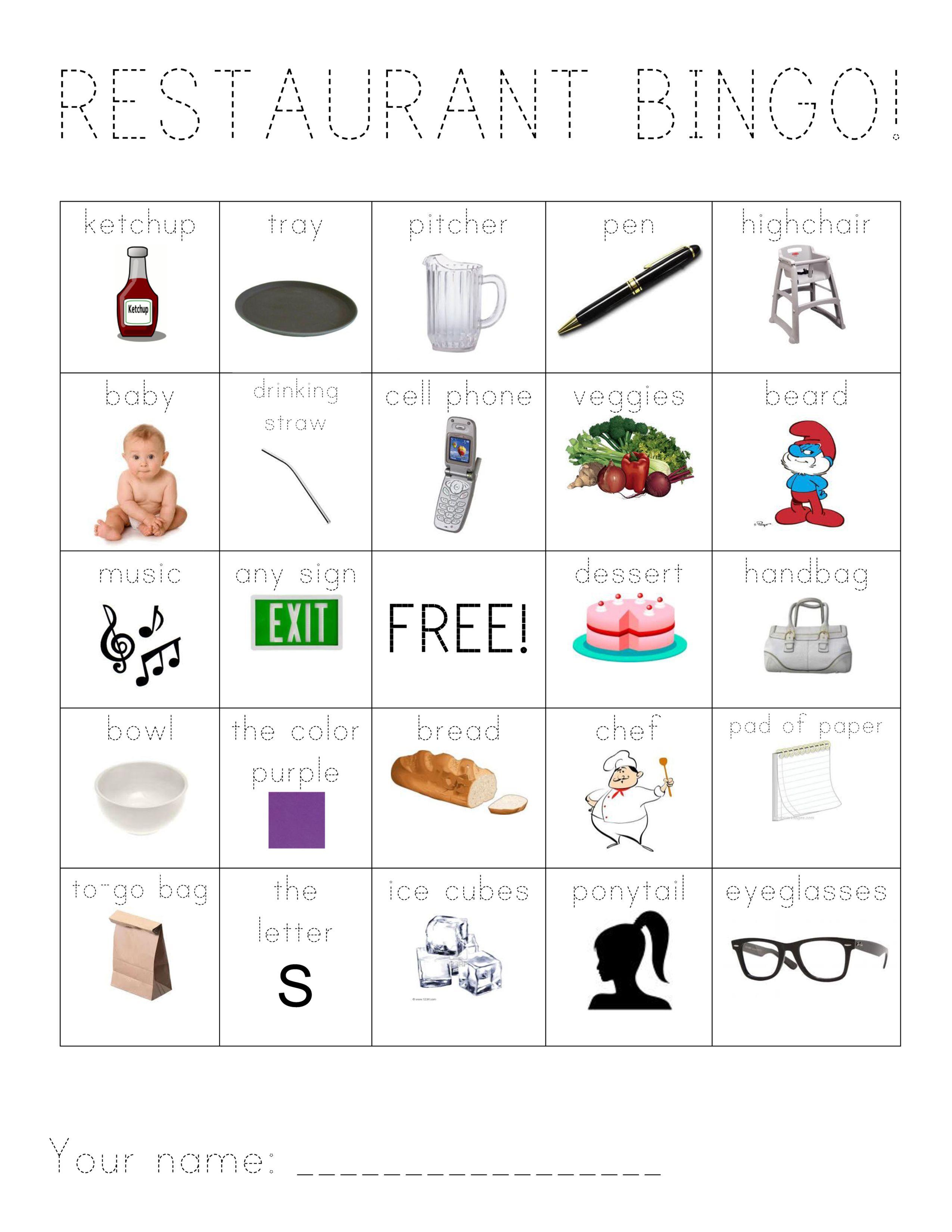Kids Restaurant Bingo CARD ONE Medium difficulty Free Printable