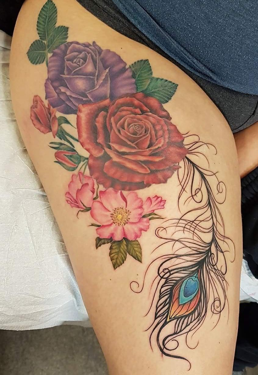Roses With Peacock Feather Thigh Tattoo Tattoos Cool Tattoos Elegant Tattoos
