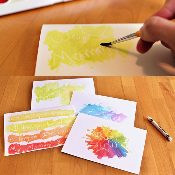 Watercolor Cards Write Or Draw With A White Crayon Then Put On