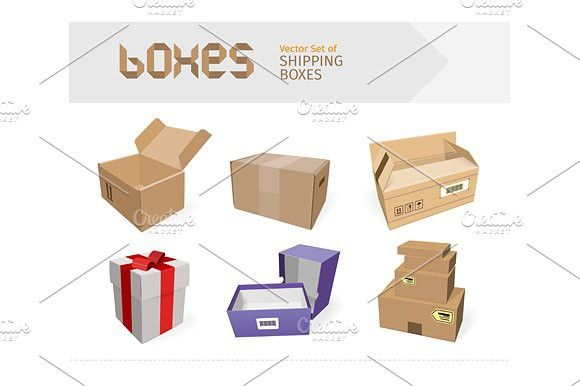 Set of Gifts Boxes Design Flat. Christmas Icons. $5.00