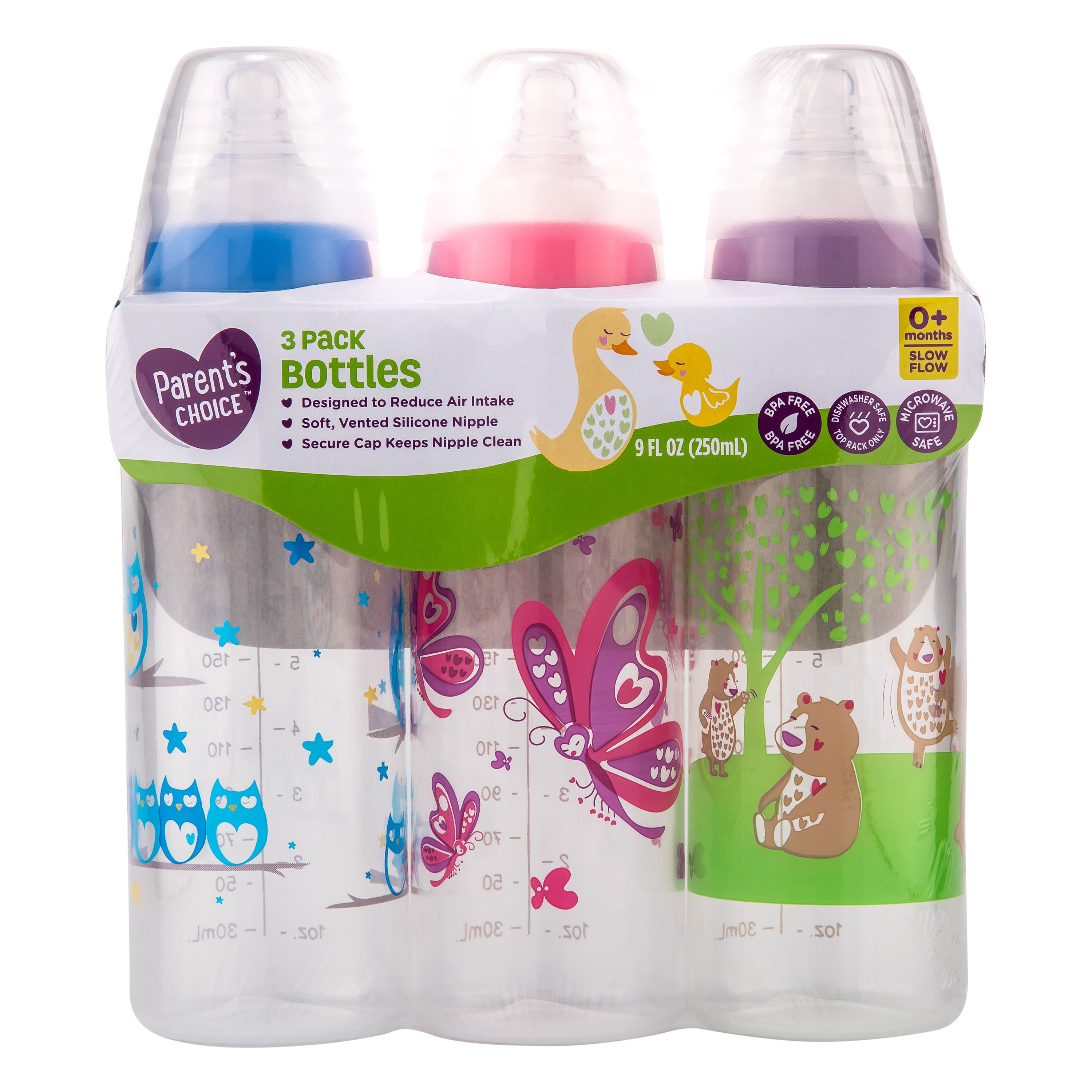 Parent S Choice Baby Bottles 9 Fl Oz 3 Count Colors May Vary Walmart Com In 2020 Baby Bottles Bottle Feeding Parents Choice