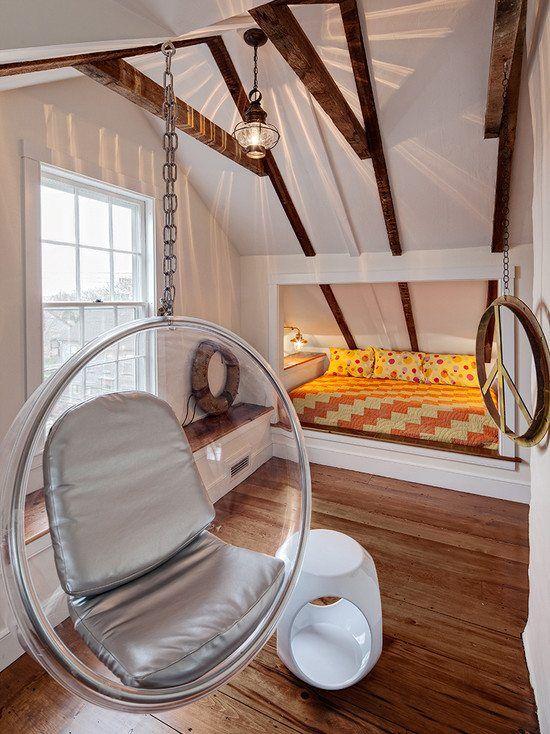 Kinderzimmer Mit Dachschräge Parkettboden Hängesessel