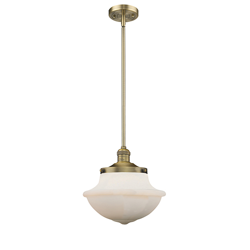 Innovations Lighting Oxford School House Brushed Brass 11 Inch One Light Pendant With White Bell Glass Innovations Lighting Vintage Led Bulbs Light