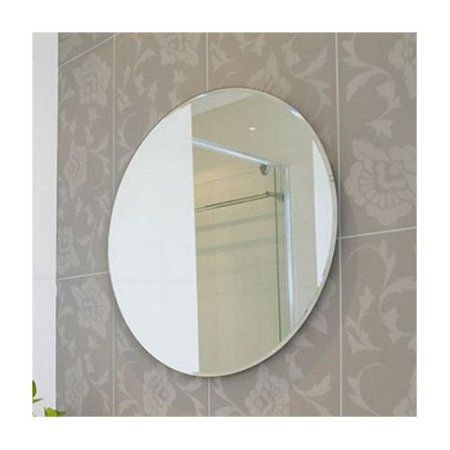 18 Inch Round Beveled Polished Frameless Wall Mirror With Hooks Silver Bathroom