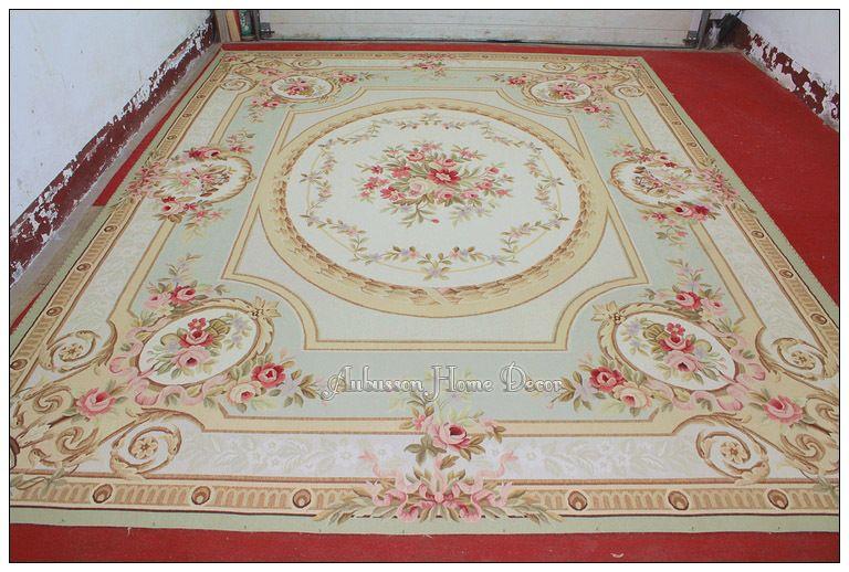Teppich Shabby 10x14 pastel light green ivory aubusson area rug carpet