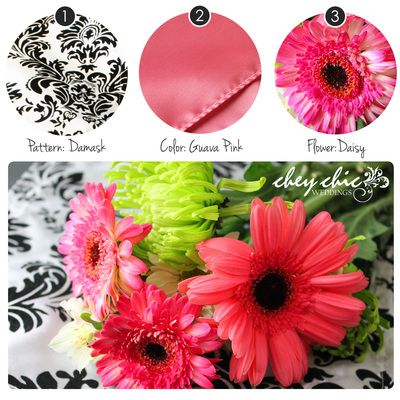 Guava Pink is a great compliment to Damask! --Chey Chic Weddings
