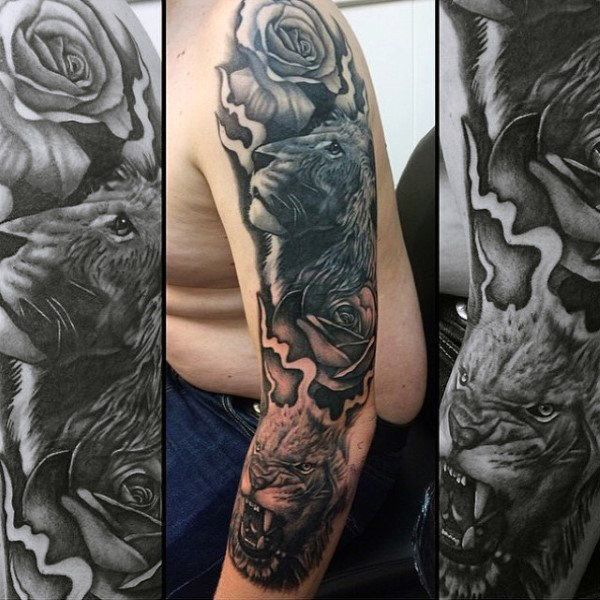 Mens Modern Lion Themed Full Sleeve Tattoo Designs Tattoo Sleeve Designs Full Sleeve Tattoo Design Mens Lion Tattoo