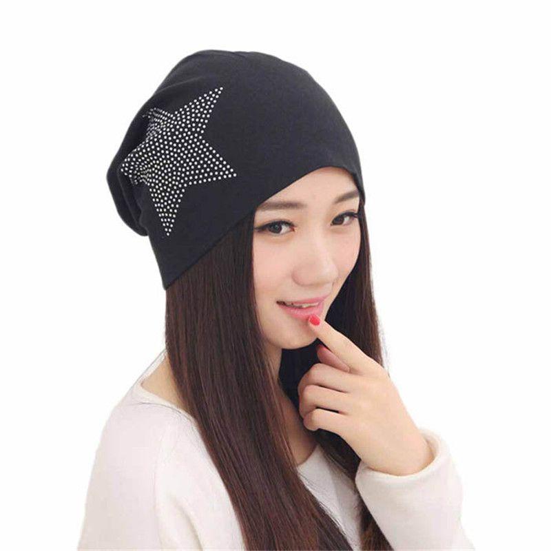 69ac941b3ee Click to Buy    New Women Knit Baggy Beanie Hat Winter Warm Bronzing Star  Fashion Sleeve Head Cap  Affiliate.