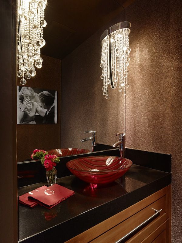 Beautiful Red And Black #bathroom #design With Monogrammed Hand Towels