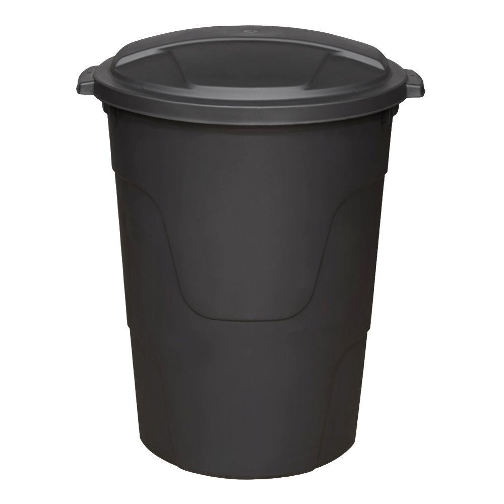 Hdx 32 Gal Black Round Multi Purpose Plastic Trash Can With Black Lid 1332blk Hdx The Home Depot Trash Can Recycled Garden Crafts Outdoor Trash Cans