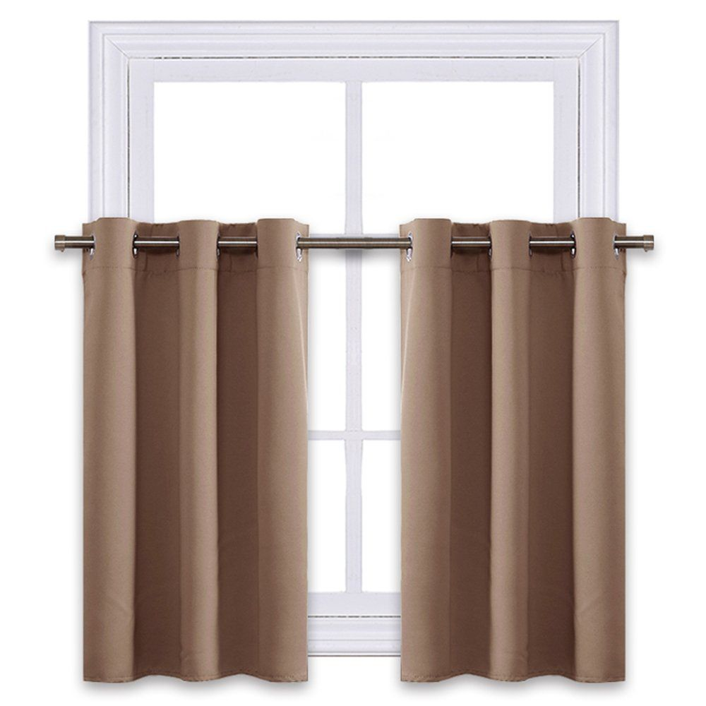 Nicetown Short Curtains Blackout Nursery Valance Thermal Insulated Light Reducing Drapes For Half Window 1 Pair 4 Diy Window Short Curtains Nursery Valance