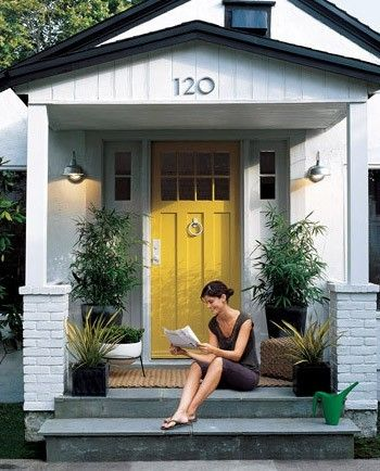Great Curb Appeal | decorate | Pinterest | Yellow front doors, Front ...