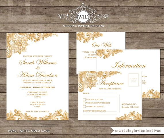 A Floral Lace Printable Wedding Invitation Acceptance Card Personalized Printable Wedding Stationery Wedding Invitations Gold Wedding Invitations Invitations