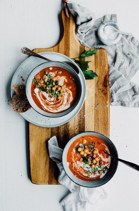 Tomato Soup with Smokey Chickpeas & Herbs | v + gf