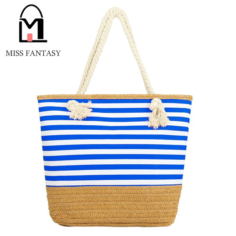 2017 Newest Summer Beach Bag Canvas Tote Straw Beach Bag Rope ...