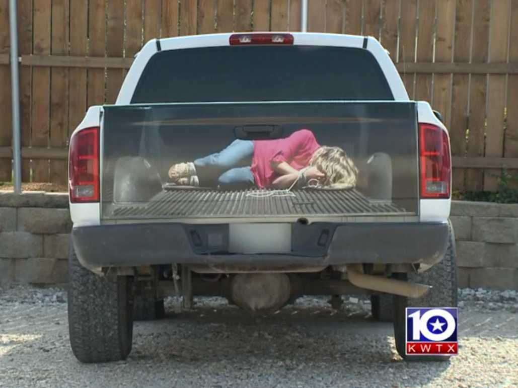 Car sticker maker in delhi - Texas Sign Company Makes Awful Decal Depicting Woman Tied Up In The Back Of A Truck