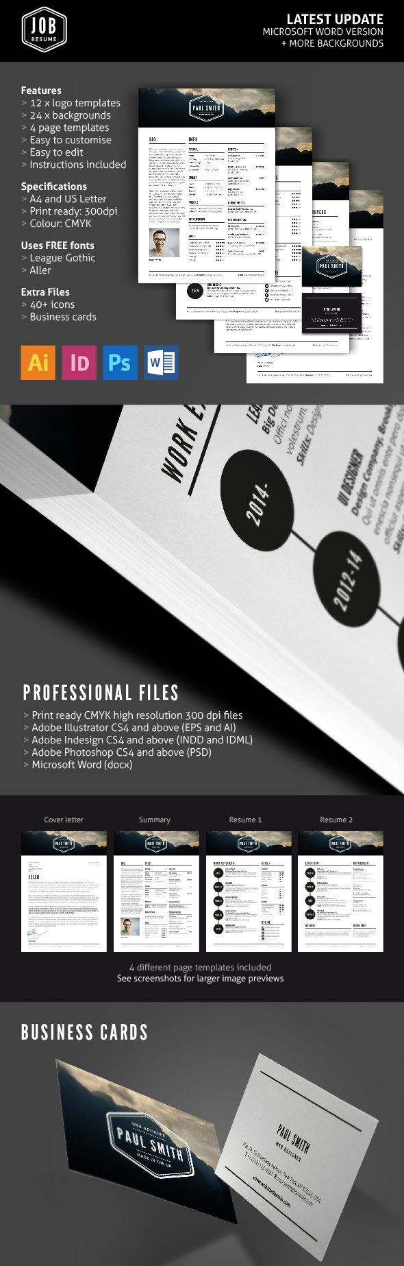 Job Resume Template Set With Logos  Business Cards  Custom