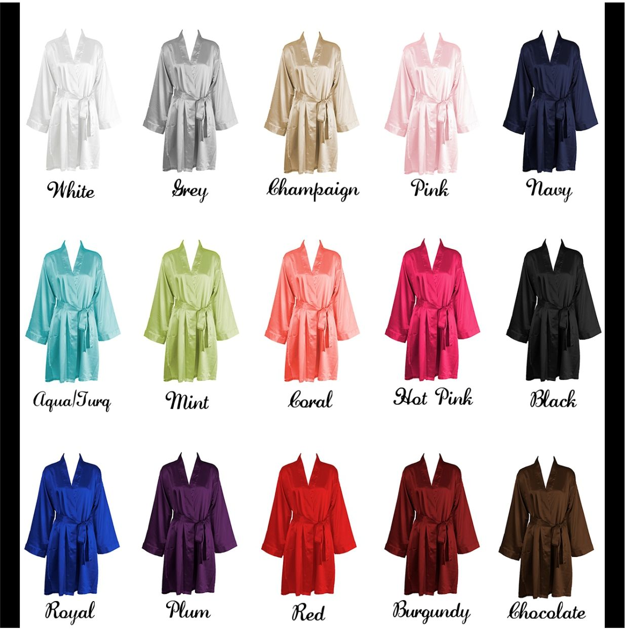 Your Wedding Party Will Love These Personalized Satin Bridesmaid And Bridal Robes Mix Match