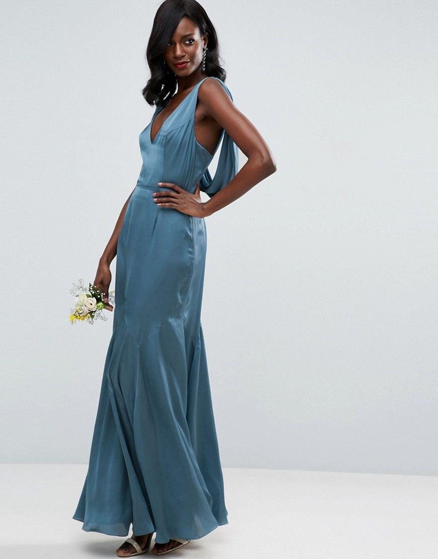 Asos wedding premium drape cowl back cami maxi dress blue products