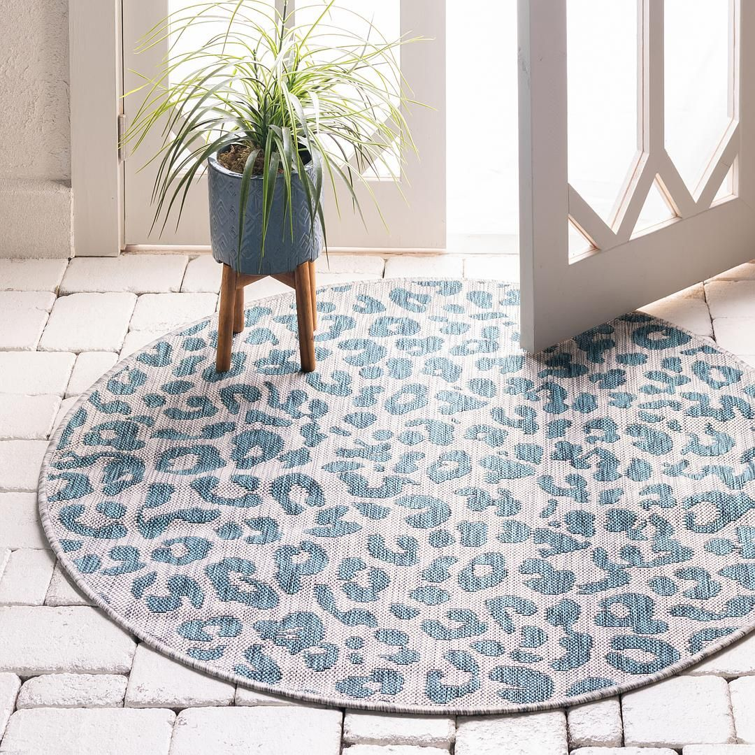 Teal 4 X 4 Outdoor Safari Round Rug Area Rugs Esalerugs