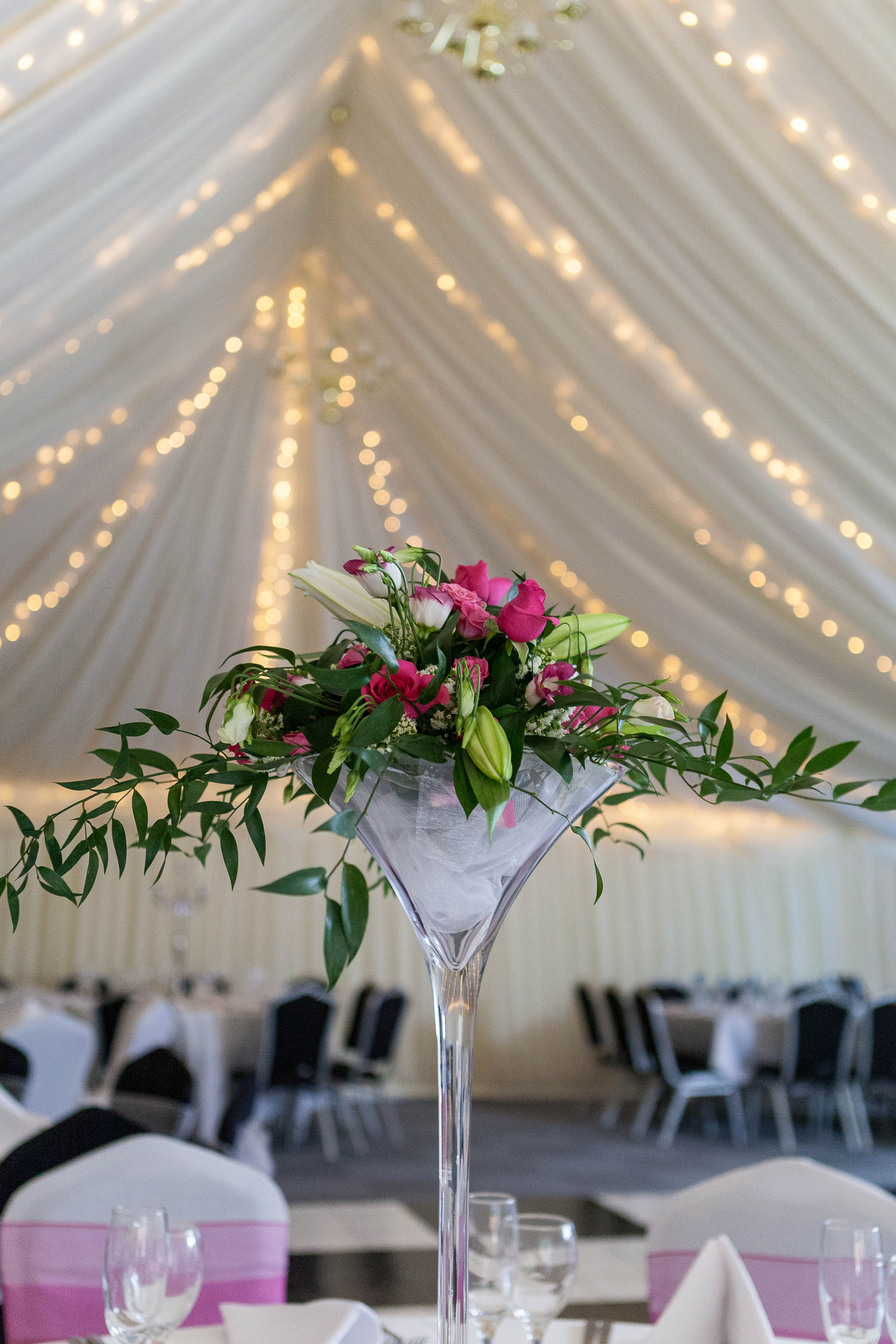 Martini Gl Centrepieces Wedding Venue Shipley West Yorkshire Marquee