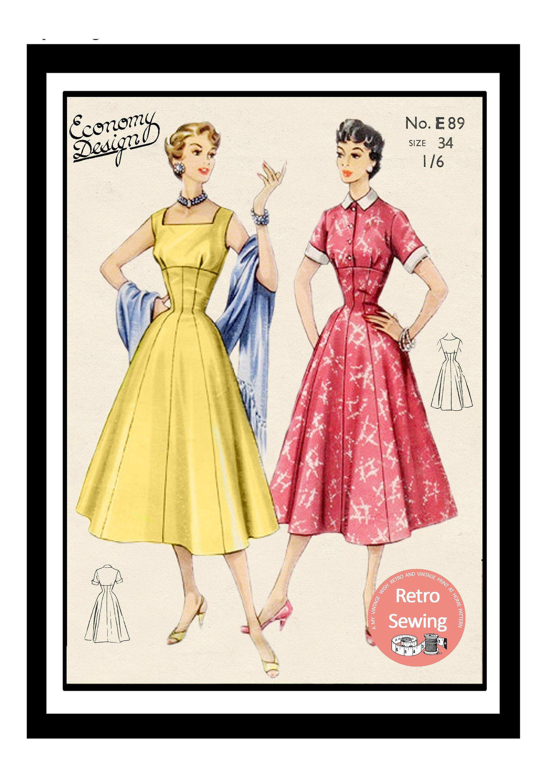 1950 S Summer Dress Pdf Sewing Pattern Rockabilly Bust Etsy Vintage Dress Patterns Summer Dresses Rockabilly Fashion [ 3000 x 2121 Pixel ]