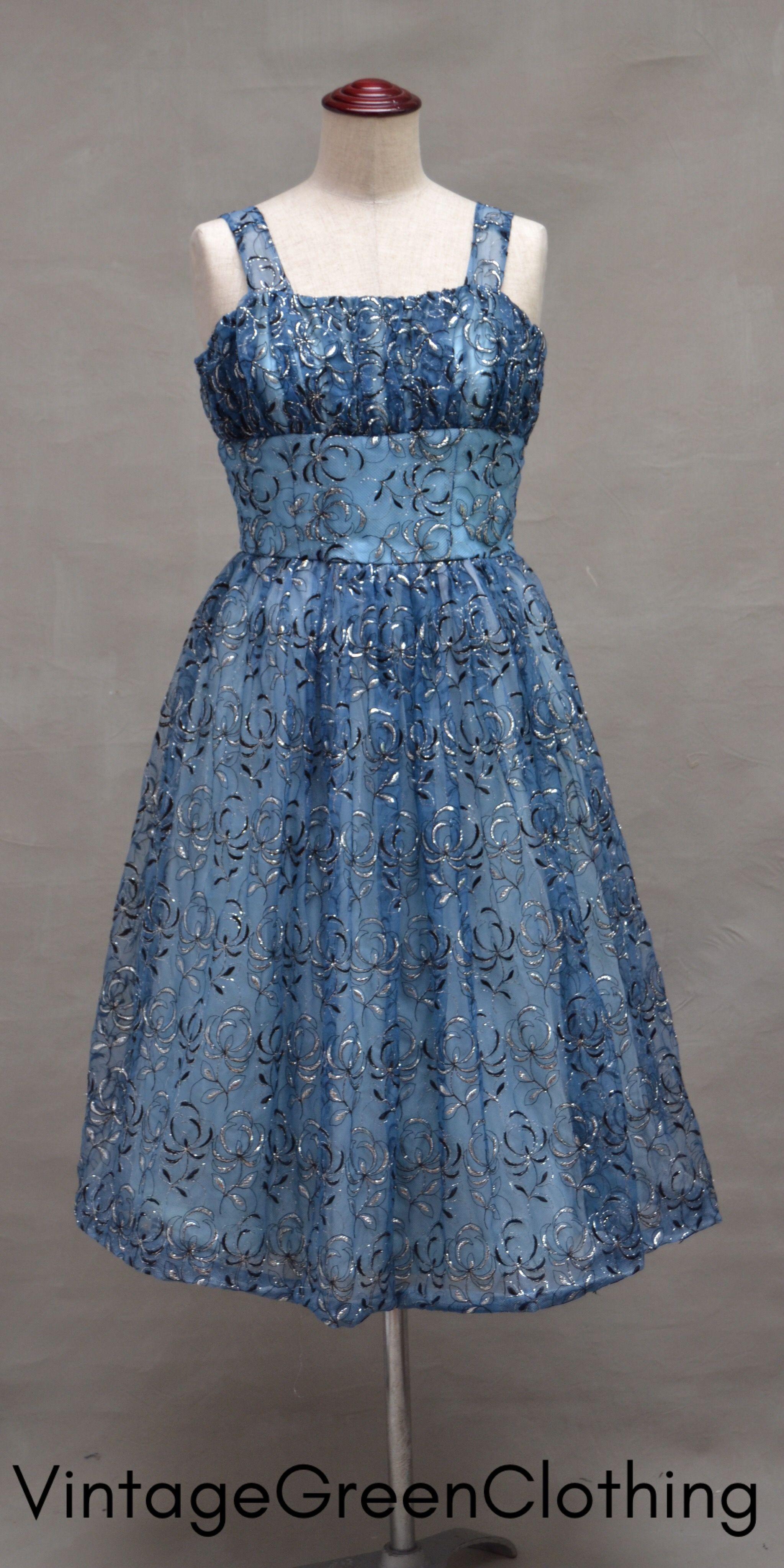 Vintage dress, 1950\'s / 60\'s blue nylon dress, 50\'s swing ...