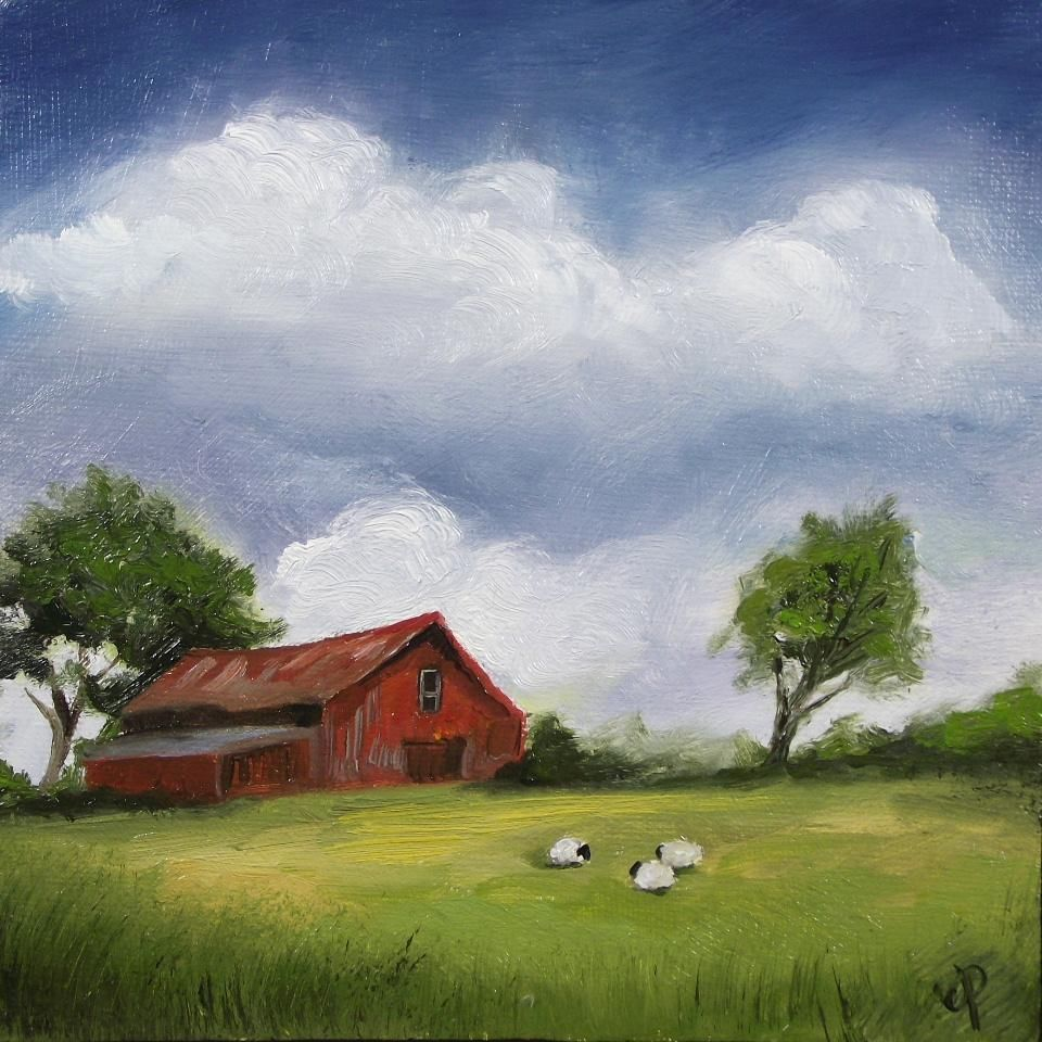Red Barn, Sheep. J Palmer Original Oil Painting Welsh
