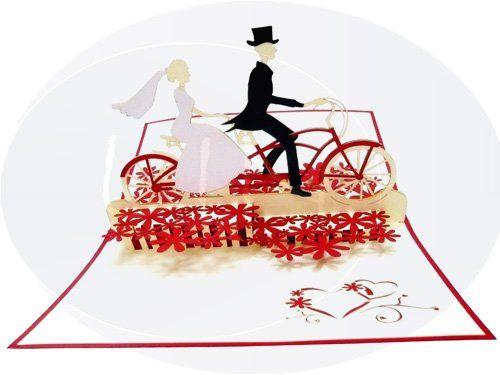 Unsere Hochzeitskarte mit Brautpaar auf Tandem. Mehr entdecken auf: www.lin-popupkarten.de