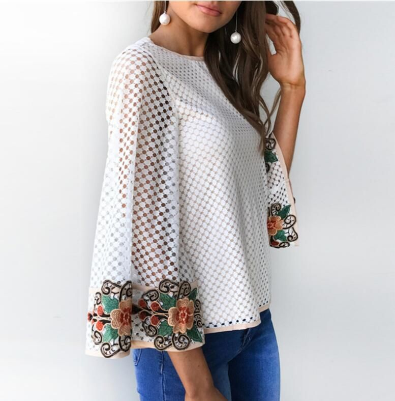 29986da02a5 Autumn Ladies Sexy Slim Flare Sleeve Blouses White Women Long Sleeve floral  Shirts casual hollow out Eyelet Top O-Neck Blouse. Find this Pin and more  ...