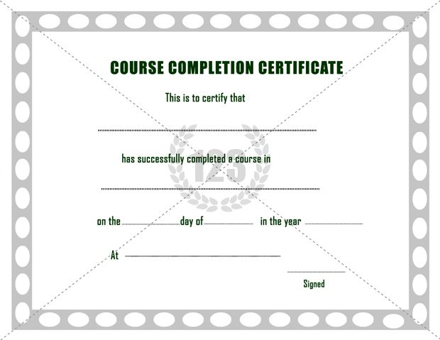 Sample Course Completion Certificate Template  Computer Course Completion Certificate Format