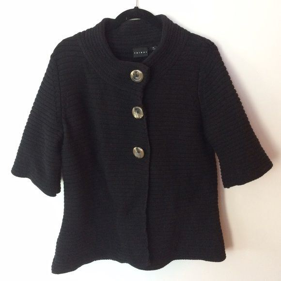 Tribal 100% cotton black cardigan Tribal button black cardigan  Pre-owned, great condition, no holes or stains. This is a size XL. Made of 100% cotton. Crop sleeve. Measurements: underarm to underarm flat across is approximately 21 inches. Back of neck to bottom of hem is approximately 27 inches. Tribal Sweaters Cardigans